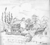 Pencil study, house with poplar trees at Kilpin Pike, Howdendyke, Yorkshire, UK